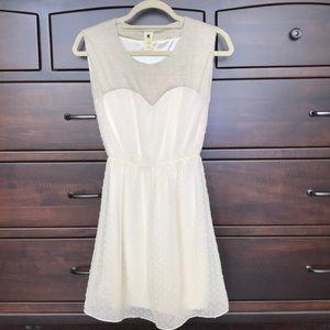 Needle & Thread Cream Polka Dot Textured Dress